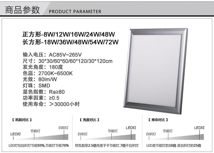 60*120cmled工程面板灯参数